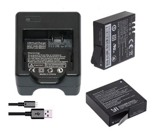 Carregador + 2 Baterias Para Yi 2 4k