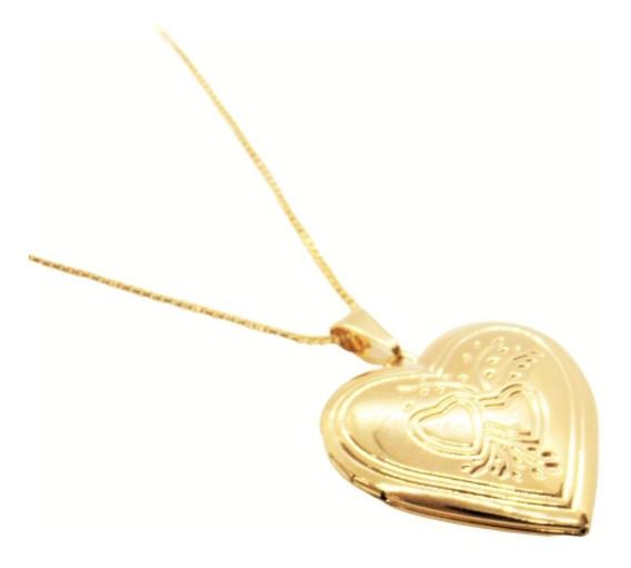 Corrente 45cm Relicário Coração P/ 2 Fotos Banhado Á Ouro