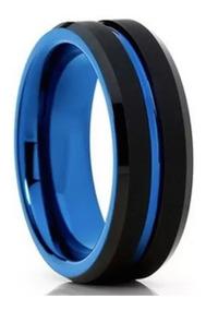 Aliança De Tungstênio Preta Azul Escovada Double Hórus