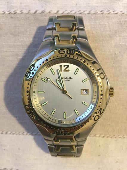 Relógio Fóssil Prata Dourado Metal Modelo Am3424
