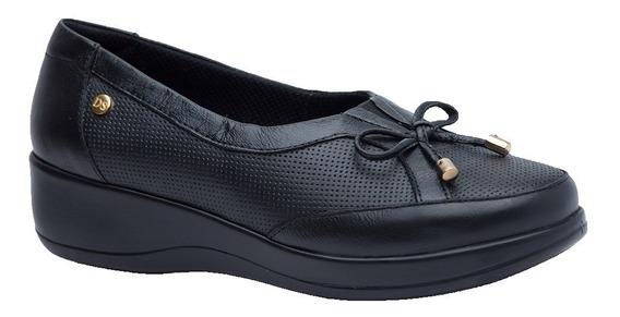 Sapato Feminino Diabético Em Couro Preto 7992 Doctor Shoes