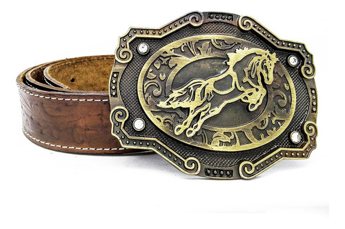 Fivela Country Cowboy Rodeo Cavalo Cinto Masculino De Couro