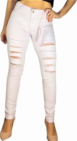 Roupas Femininas Calça Jeans Branca Cós Alto Hot Pants