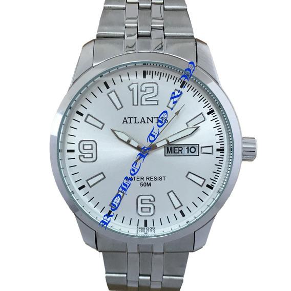 Relógio Atlantis Original Masculino Pulseira De Aço+caixinha