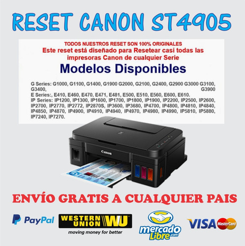 Reset Canon St4905 Para G2100, G2400 G3100 Service Tool 1pc