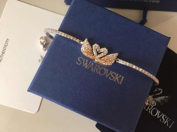 Pulseira Bracelete Swarovski Cisne Duplo