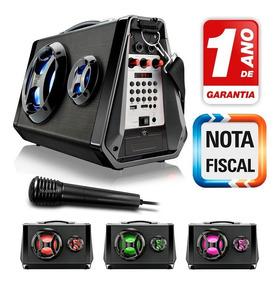 Caixa De Som Bluetooth Com Microfone Mp3 Player Rádio Fm