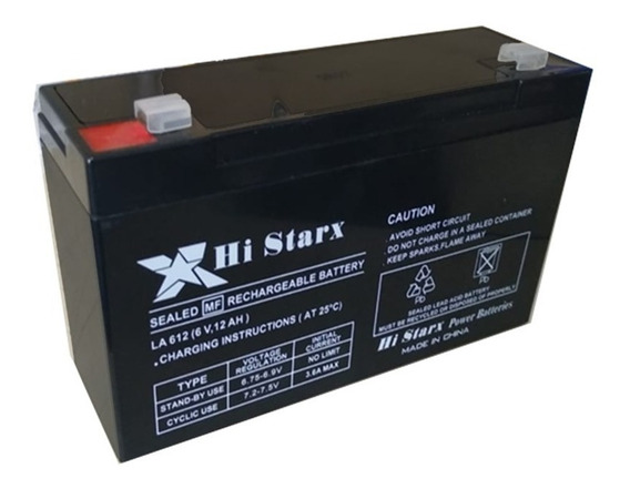 Bateria De Gel 6v 12ah Recargable Luz Emergencia Ups Histarx