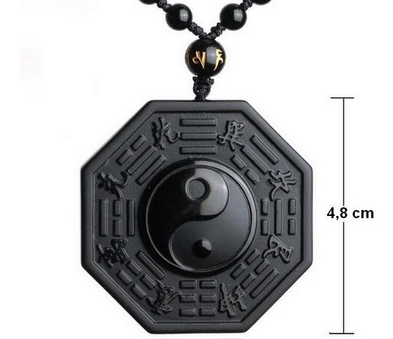 Colar Cordão Yin Yang Unisex Pedras Naturais Obsidiana