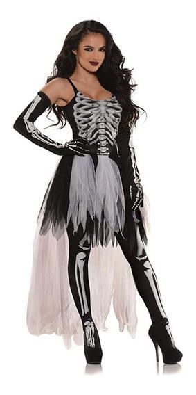 Disfraz Mujer Esqueleto Halloween Tutú Talla Xl