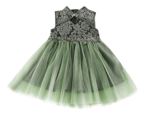 Vestido Niña Casual Verde Encaje