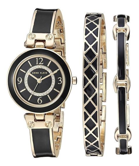 Reloj Anne Klein Con Pulseras Y Cristales Swarovsky