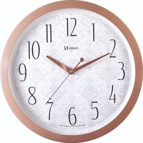 Relógio De Parede 35cm Silencioso Contínuo Rosê Herweg 6811
