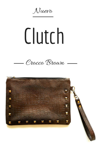 Sobre/clutch Crocco Negro Y Marron