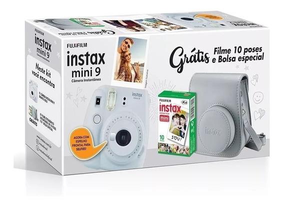 Kit Câmera Instax Mini 9 Branco Gelo + Bolsa + 10 Filmes