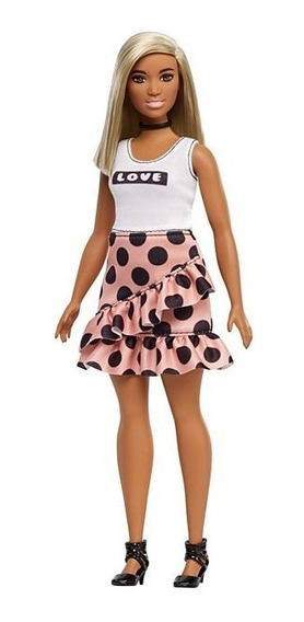 Barbie Fashionistas 111 Curvy Saia Rosa E Blusa Love Mattel