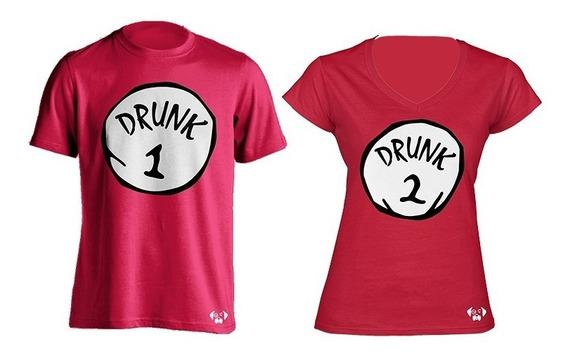 Sarcasmo Playeras Parejas Novios Drunk 1 Drunk 2