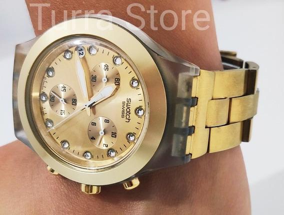Relógio Swatch Diaphane Irony Dourado - Novo