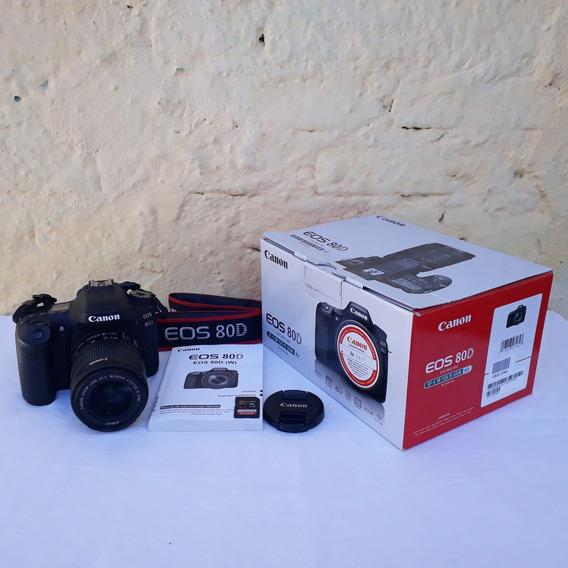 Camera Canon 80d Semi Nova Com Lente 18-55 E Cartão 32 Gb