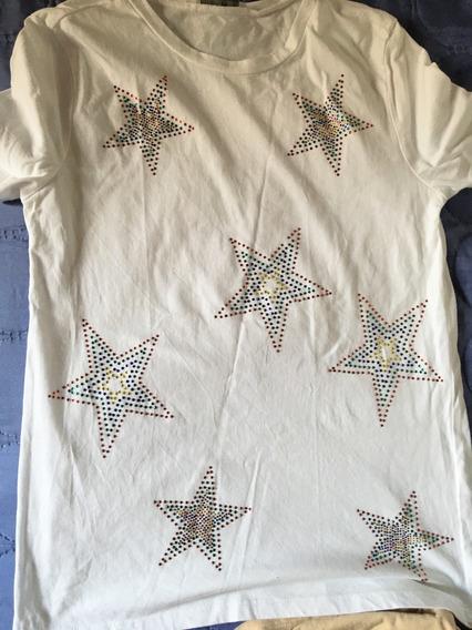 Remera Zara Con Estrellas Bordadas Nueva S