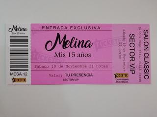 Invitaciones Entrada Ticketek Sin Sobre X 50u.