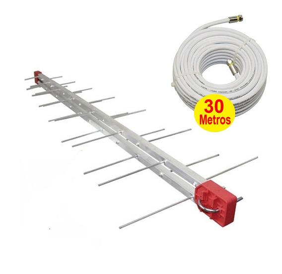 Kit Antena Digital 4k Log 28 Externa Cabo 30m - Capte