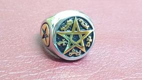 Pentagrama Anel Aco Inox 28, 29