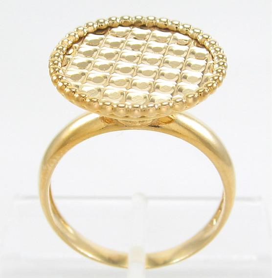 Anel Design Trabalhado Aro17 Todo Em Ouro Amarelo 18k 750.