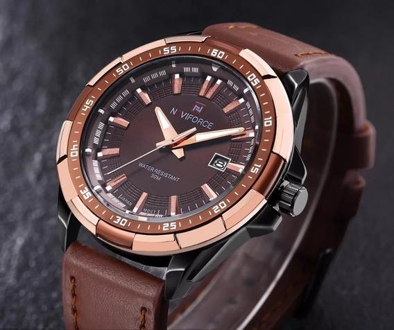 Relógio Naviforce Original, Importado, Com Pulseira De Couro