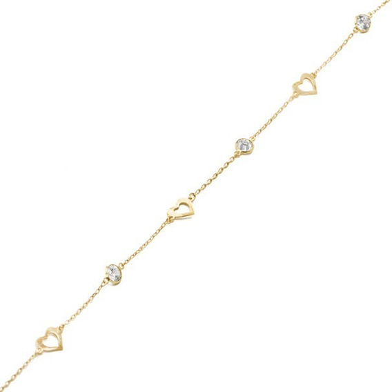 Pulseira Feminina 18cm Corações Vazados E Zircônias Ouro 18k