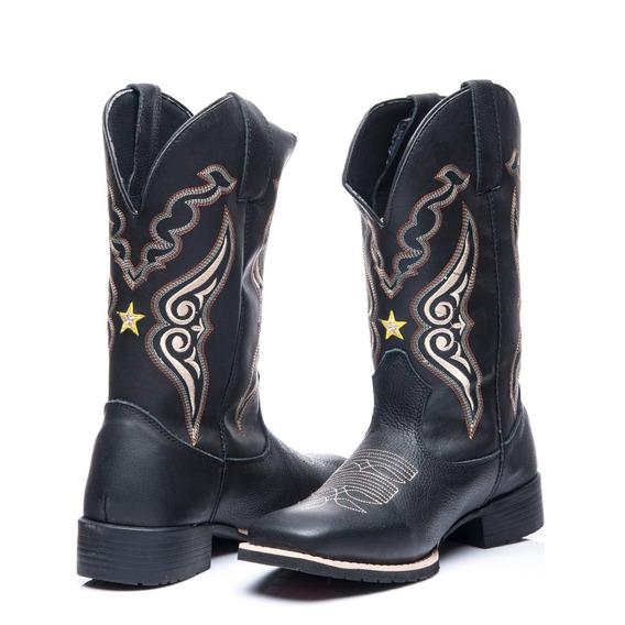 Bota Texana Masculino Em Couro Legitimo Xerife Black