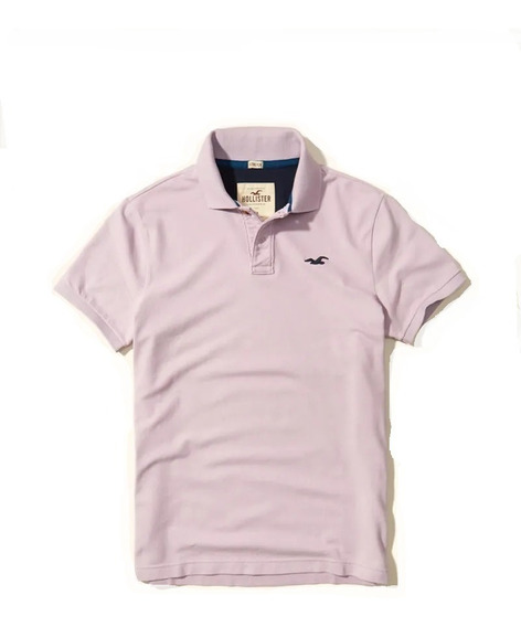 Hollister Caballero Polo Stretch De Pique Lila Importada