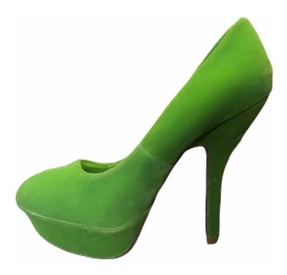 Zapatos De Taco Y Plataforma Eco Cuero Y Gamuza Verdes 37