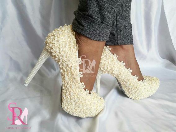 Sapato De Noiva / Flores E Perolas Marfim