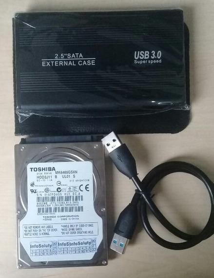 Hd Externo 640gb 2.5 Sata Com Interface 3.0 Usb
