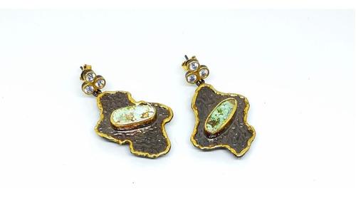 Imagen 1 de 3 de Aretes Plata Turca Con Oro Laminado 22k Con Piedra Turquesa