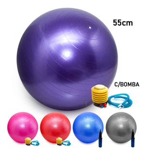 Bola Pilates Yoga Abdominal Ginastica Fitness 55 Cm C/ Bomba