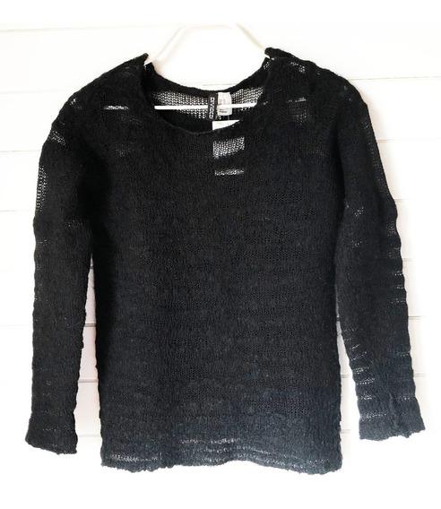 Sweater H&m Original Negro Traslúcido Mujer/niña Talle Xs