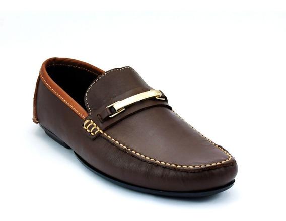 Zapato Mocasin Bicolor Con Hebilla De Placa Para Caballero