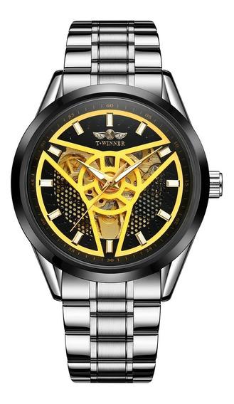 Reloj Hombre T-winner Automático Acero Inox Color Plata