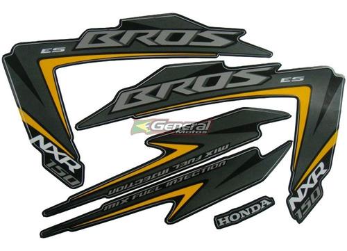 Kit Adesivo Jogo Faixas Moto Honda Bros 150 2012 Es Preta