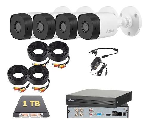 Kit Circuito Cerrado 4 Cámaras 2mp Dahua Fhd 1080p 1 Tb