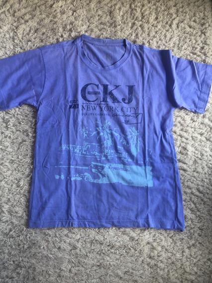 Camiseta Calvin Klein Original Tamanho G Impecável Cor Azul Claro Bom Estado Barbada!