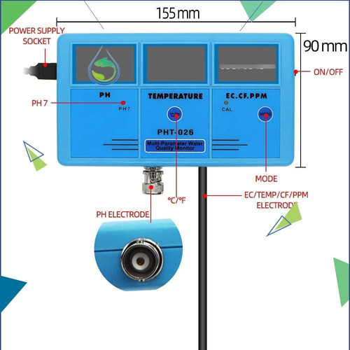 Medidor De Ph 6 En 1 Profesional Elèctrico 110-200v