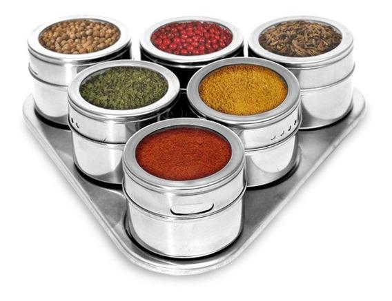 Porta Condimentos Temperos Magnetico Inox 7 Peças Cozinha
