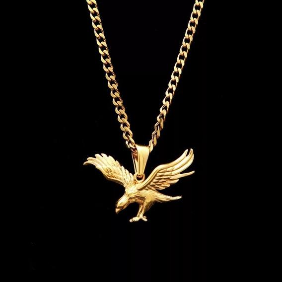 Cordão Corrente Masculina Banhado A Ouro 18k Pingente Águia