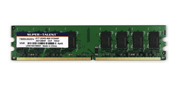 Memoria Ram 2gb Super Talent Ddr2-800 128x8 T800ub2gv