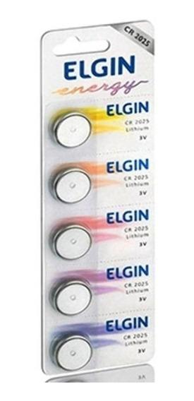 Bateria Cr2025 Elgin 3v (cartela Com 5 Unidades)