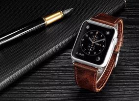 Pulseira Apple Watch Couro Marrom Escuro 42mm