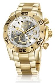 Relógio Everlast Masculino Dourado Cronógrafo E543 Aço Gold